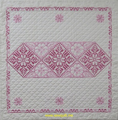Fuchsia Cross Stitch Quilt