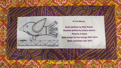In Full Bloom Quilt Label