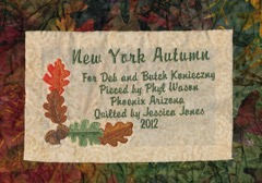 New York autumn quilt label