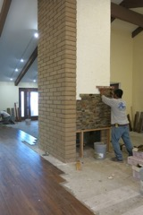 Stone on fireplace